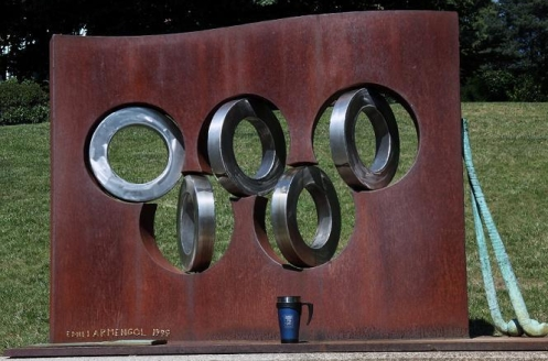 Mug Shot Olympic Ring Scupture